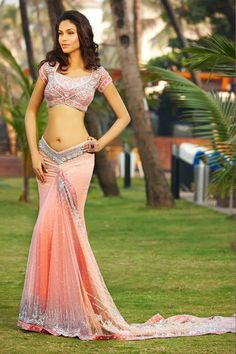 Love the cut of the choli and the lengha. {Sahil – Latest Bridal Collection} | South Asian Bride Magazine - bridal lengha/sari in peach