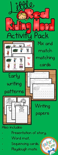 Little Red Riding Hood Activity Pack perfect for early years and sen classrooms. It uses playdough mats, counting clip cards, early writing patterns and other activities to extend the story to cover a wide range of learning areas in the classroom.