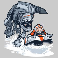 "Artist Nathan Davis created this amusing t-shirt design that was inspired by Star Wars and Jurassic Park. He calls the it ""Jurassic Hoth""."