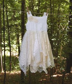 Little Girls Size 4 Fairy Woodland Dress, Flower Girl, White, Lace, Shabby, Tattered, Boho, Hippie, Eco Earth Friendly, Upcycled Clothing