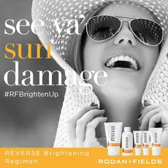 Rodan + Fields Reverse Regimen Who's ready for summer? Don't let sun damage ruin your beautiful skin. Exposure to the sun and environment can leave you with less-than-youthful skin. Erase the appearance of premature aging . Rodan And Fields Reverse, Layers Of Skin, Dull Skin, Uneven Skin Tone, Perfect Skin, Skin Care Regimen, Good Skin, Brown Spots, Dark Spots