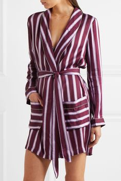 Love Stories | Ritz appliquéd striped satin robe | NET-A-PORTER.COM