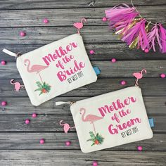 Destination Brides!! Looking for an adorable wedding favor for your Mother and future Mother in law? Checkout our personalized flamingo makeup bags! Also a great gift idea for your bridal party.