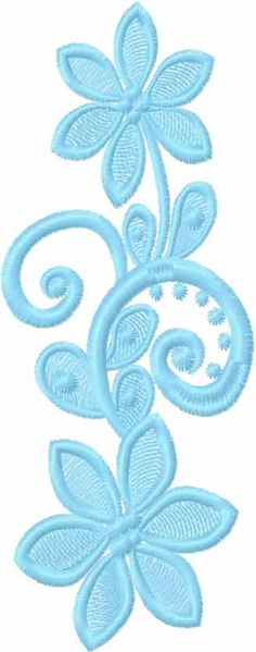 Blue flowers free embroidery design 25 - Decoration free embroidery designs - Machine embroidery community