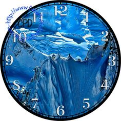 """Shades of Blue Ice & Snow Mountains Art - -DIY Digital Collage - 12.5"""" DIA for 12"""" Clock Face Art - Crafts Projects by CocoPuffsDesigns on Etsy"""