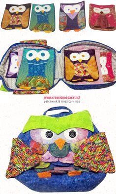 Bolso Buho con 4 estuches pequeños para guardar lapices de colores