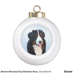#Bernese Mountain #Dog #Christmas Round #Ornament #pet #animal #doggie #doggy #Christmas2016