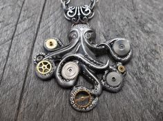 Steampunk Clockpunk Cthulhu Octopus Pendant with Watch Gears & Gems on Cable Link Chain