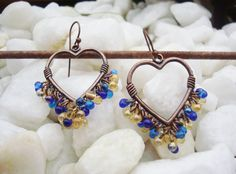 Earrings On Sale Handcrafted Jewelry,Bohemian Bling,Boho Earrings,Ocean Blue,Sunny Yellow Gold,Goddess, Chandelier Earrings, Copper Hearts,T - pinned by pin4etsy.com