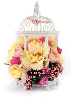 bird cage flowers arrangement