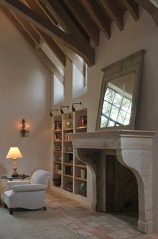 stunning fireplace and divine beams