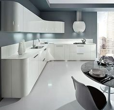 If I got to have a home with two kitchens, this would be my sleek second kitchen. Wow! >> grey white gloss kitchen