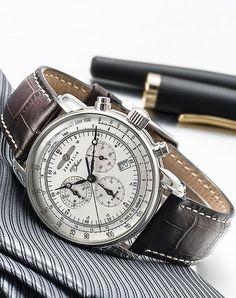 Zeppelin - 7680-1 - Montre Homme - Quartz Analogique - Alarme / Chronomètre - Bracelet Cuir Marron: Amazon.fr: Montres
