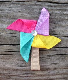 Pinwheel Ribbon Sculpture Hair Clip - Toddler Hair Clips - Girls Hair Accessories... Free Shipping Promo