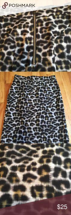 Ann Taylor Petite 0P Leopard Skirt Excellent condition Leopard pattern skirt. Zipper in the back, lined, small Ruffle in the back Ann Taylor Skirts Pencil