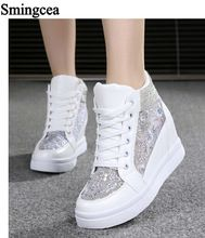 7cm High Summer Fashion White Floral canvas shoes hollow breathable platform Wedge shoes Women casual mesh shoes zapatos mujer(China (Mainland))