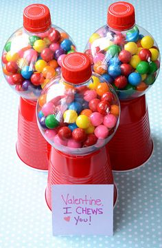 Valentine's Day Craft...I Chews You...made with plastic coke bottles & cups!