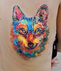 vivid-watercolor-wolf-tattoos
