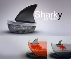 水面が徐々に赤く・・・「ジョーズ」の茶こし【Sharky Tea Infuser】