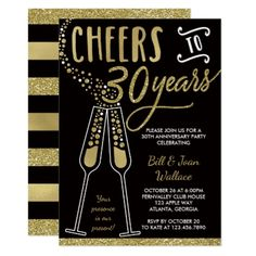 30th Wedding Anniversary Invitation Faux Glitter Card - gold wedding gifts customize marriage diy unique golden