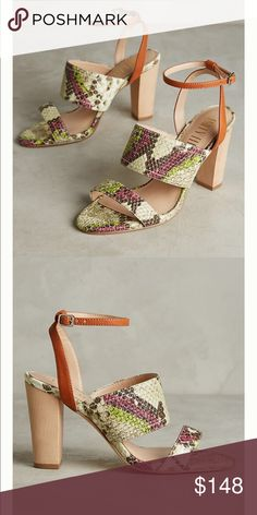 317918b9018fcb Anthropologie Snake Print Heels These Billy Ella snake print heels are  leather with 4 inch wood