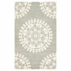 Define an area in your living room or master suite with this tufted New Zealand wool rug, featuring an oversized medallion motif.     Product: RugConstruction Material: WoolColor: Grey and ivoryFeatures: TuftedNote: Please be aware that actual colors may vary from those shown on your screen. Accent rugs may also not show the entire pattern that the corresponding area rugs have.Cleaning and Care: Professional cleaning recommended