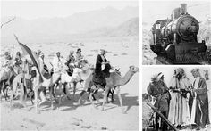 An Arab patrol, left; the Hejaz railway, right top; TE Lawrence gives a lesson in the use of a Stokes trench mortar, below