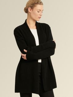 Rendered in soft cashmere, this open-front cardigan is a versatile layering piece. Cashmere Turtleneck, Ribbed Sweater, Cashmere Sweaters, Best Casual Outfits, Faux Shearling Coat, Sweater Sale, Outdoor Wear, Color Block Sweater, Donna Karan