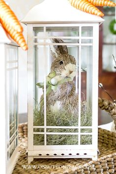 Decorating with Lanterns: Easter Bunnies & Carrots. A fun and easy way to switch things up seasonally. Choose a neutral set of lanterns that blends with all colors and decor styles.