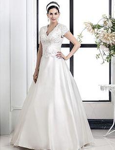 A-line Princess V-neck Lace And Organza wedding dress Easebuy! Free Measurement!