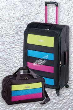 COLECCIÓN OVIEDO Equipaje de viaje con detalles de color super vistosos. www.primicia.com.ar