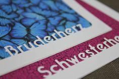Geschwisterliebe: Plotterfreebie Passepartout mit Bruderherz und Schwesterherz
