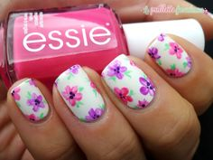 #flower #nail #nails #nailart #pink #purple #green #white #essie #lapaillettefrondeuse