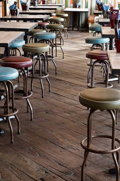 Stools with different coloured tops in Manja colours though