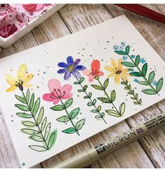 Just paint some blobs and then add in the details! (Or vi Simple floral doodles. Just paint some blobs and then add in the details! Watercolor Projects, Watercolor And Ink, Simple Watercolor Flowers, Simple Flower Painting, Simple Watercolor Paintings, Drawing Flowers, Floral Doodle, Doodle Art, Diy Art