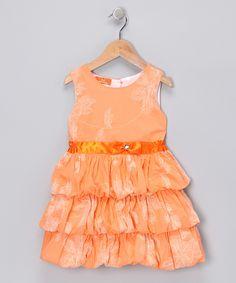 #zulily #fall Orange Floral Ruffle Dress - Girls