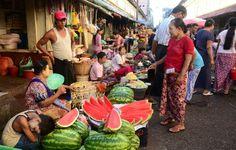 Vibrant colourful market in Myanmar