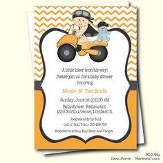 Biker Baby Shower Invitation  Motorbike Baby Shower Invite  Rider Baby  Baby  Boy Biker  Orange Chevron Printable Invite  Coed Baby Shower