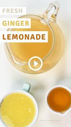 Healthy Juice Recipes, Healthy Juices, Tea Recipes, Healthy Smoothies, Healthy Drinks, Cooking Recipes, Healthy Lemonade, Ginger Lemonade, Lemonade Drink