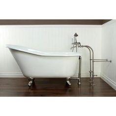 ff1a1e3f5e4 Aqua Eden 5 ft. Cast Iron Satin Nickel Claw Foot Slipper Tub in White.  Nápady Na KoupelnuRenovace KoupelnyInspirace ...