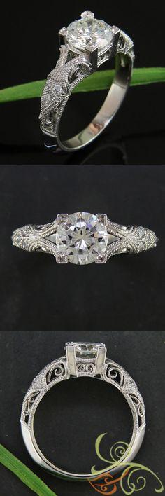 Vintage platinum design ornately detailed with fine milgrain