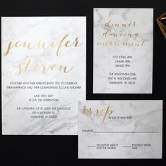 Marble and gold foil modern wedding invitations. DCo Lovenotes