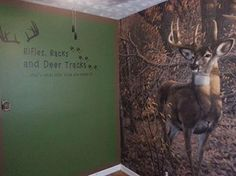 """Cabela's FB Fan, McKenzie shared her almost completed outdoor themed nursery. """"Rifles, Racks and Deer Tracks...what little boys are made of."""""""