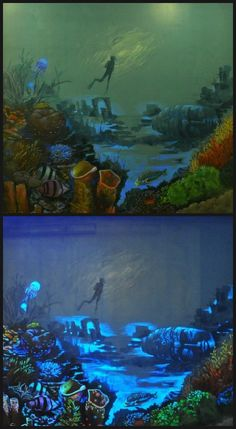 A beautiful underwater mural with highlights of Modern Masters Wildfire Luminescent Paints with and without black light. By AG Murals