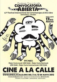 Afiche convocatoria Cine a la Calle 2012. Barranquilla, Colombia