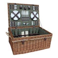 The best 6 Person Deluxe Rope Handled Green Tweed Fitted Picnic Basket http://www.redhamper.co.uk/6-person-deluxe-rope-handled-green-tweed-fitted-picnic-basket/  #fittedpicnicbaskets #shoppingbaskets