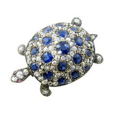 1stdibs | An Antique Silver Topped Gold, Sapphire, Diamond and Ruby Turtle Brooch