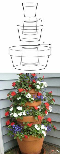 Create a masterpiece simply by stacking pots. -- 13 Clever Flower Arrangement Tips & Tricks Create a masterpiece simply by stacking pots. -- 13 Clever Flower Arrangement Tips & Tricks Garden Yard Ideas, Diy Garden, Garden Spaces, Garden Crafts, Garden Projects, Garden Pots, Garden Benches, Wooden Garden, Garden Table