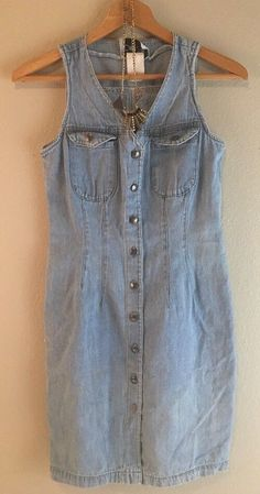 Vtg 80s Denim Dress With Necklace Mini Light Wash Boho Hippy With Defects   eBay