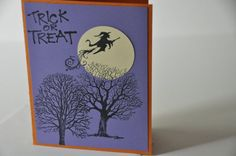 Hand stamped Halloween card Flying witch and by StampsnStitches, $3.50
